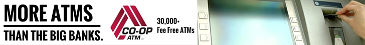 More ATMs than a Big Bank Co-Op ATMs.  30,000 Fee Free ATMs